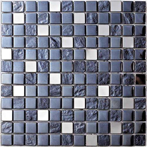 8 mm Plata Mosaico de Vidrio en Malla DEC-47082626113 30 x 30 cm