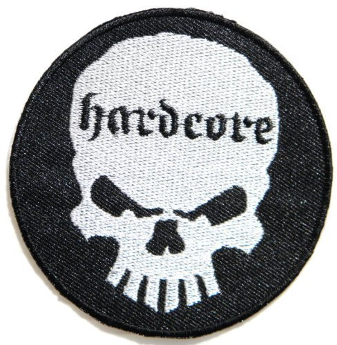 3 x 3Hardcore Skull Punk Rock Biker T-shirt jacket polo Patch Sew Iron on Embroidered Logo Sign Badge BLUE music patch by Tourlesjours by Tour Les Jours