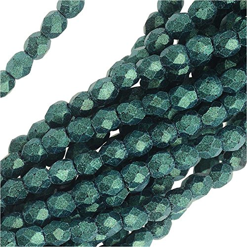 Glass, 3mm Faceted Round Beads, 50 Piece Strand, Metallic Light Green Suede ()