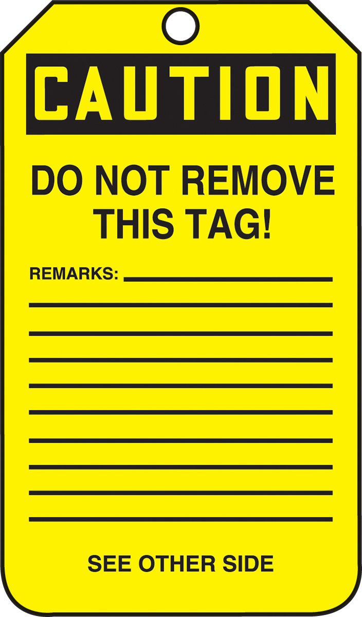LegendCAUTION DO NOT OPERATE THIS EQUIPMENT Pack of 5 Accuform MDT684PTM RP-Plastic Jumbo Tag LegendCAUTION DO NOT OPERATE THIS EQUIPMENT Black on Yellow 8-1//2 Length x 3-7//8 Width x 0.015 Thickness