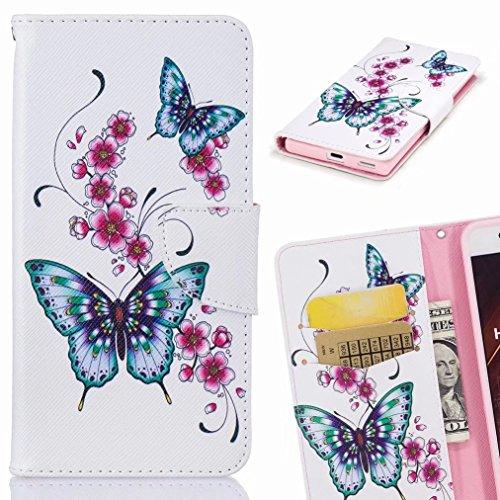 Custodie Apple iPhone X / IPhone 10 / IPhone TenCover, Yiizy Blue Butterfly Design Custodia Portafoglio Silicone Gomma Flip Cover Case PU Pelle Cuoio Copertura Case Slot Schede Cavalletto Stile Libro