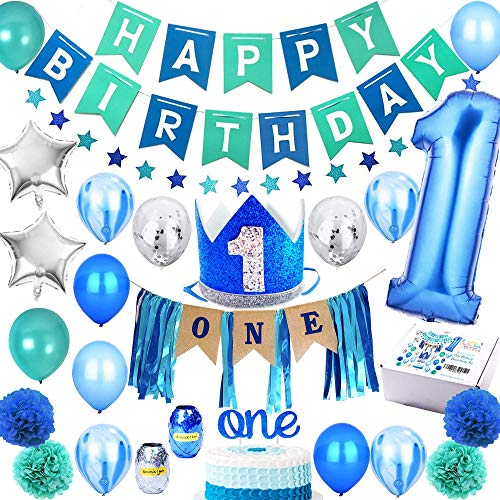 1st Birthday Boy Decorations 'Mega Set' | High Chair Decoration, First Bday Royal Boys Crown Hat, Happy Birthday Party Banner, ONE Cake Topper, Confetti, Marble, Foil and Latex Balloons, Star Bunting, Pom Poms and More Decor Supplies | Blue Silver Sea Green Theme -