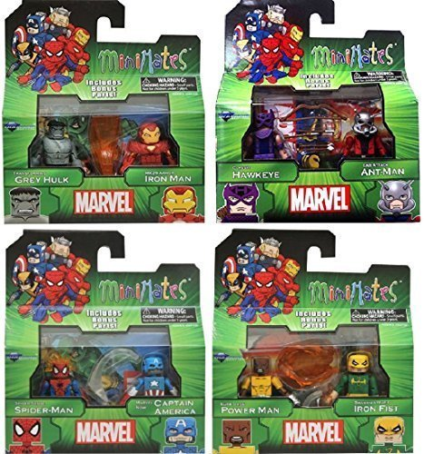 Marvel Minimates Best of Assortment 3 Complete Set of 4 Mini Figure - Minimates Spider Iron