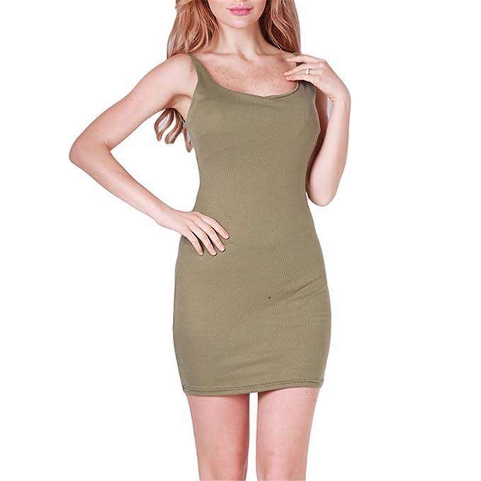 HuoGuo Fashion Women Sexy Backless Basic Dresses Sleeveless Slim Vestidos Vest Tanks Bodycon Dress Strap Solid