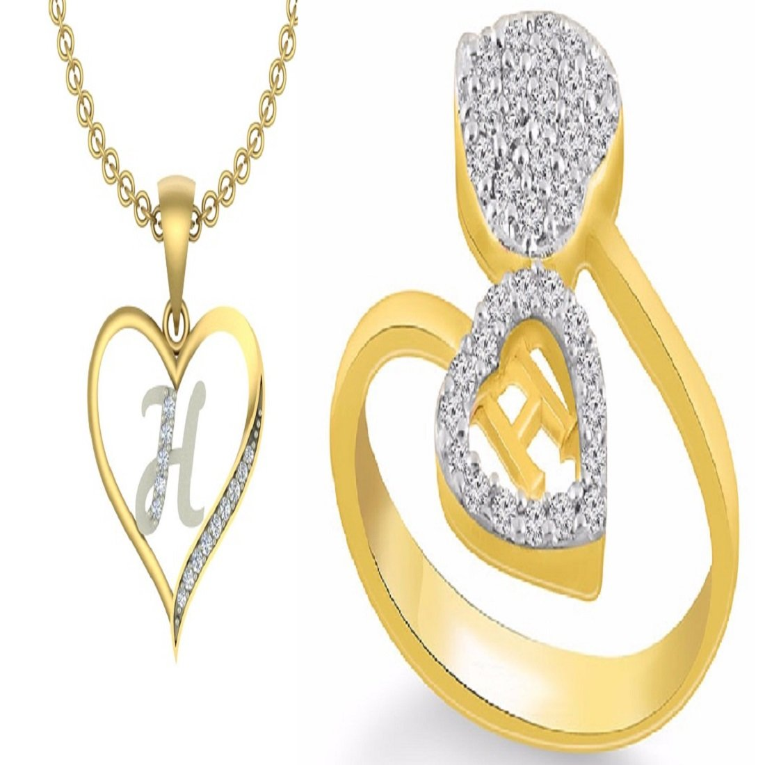 H Letter Images.Kanak Jewels Combo Of Initial Letter H With Heart H Ring Yellow Gold Cubic Zirconia Brass Pendant With Ring
