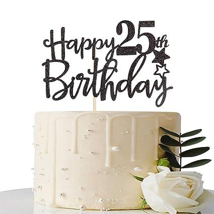 Amazon Black Happy 25th Birthday Cake TopperHello 25Cheers To 25 Years Fabulous Party Decoration Toys Games