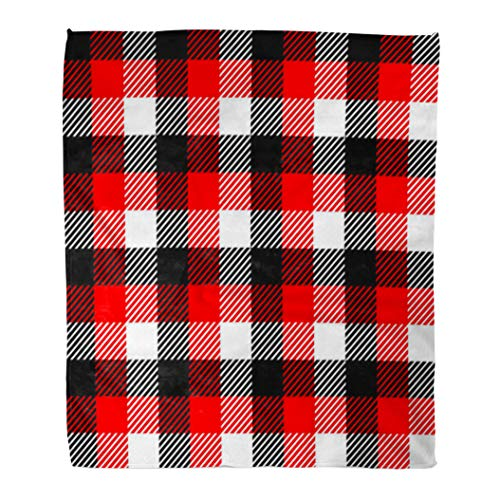 (Emvency Decorative Throw Blanket 50 x 60 Inches Geo Checkered Gingham in Black White and Red Abstract Bright British Checked Warm Flannel Soft Blanket for Couch Sofa Bed)