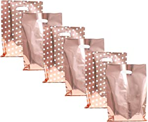 """UNIQOOO 60 Metallic Rose Gold & Polka Dot Wedding Favor Bags, Treat Bags Bulk, Gift Candy Cookie Buffet Bag, Great for Wedding, Baby Shower, Birthday Party, Events, Celebrations - 6 1/2"""" x 9 3/4"""