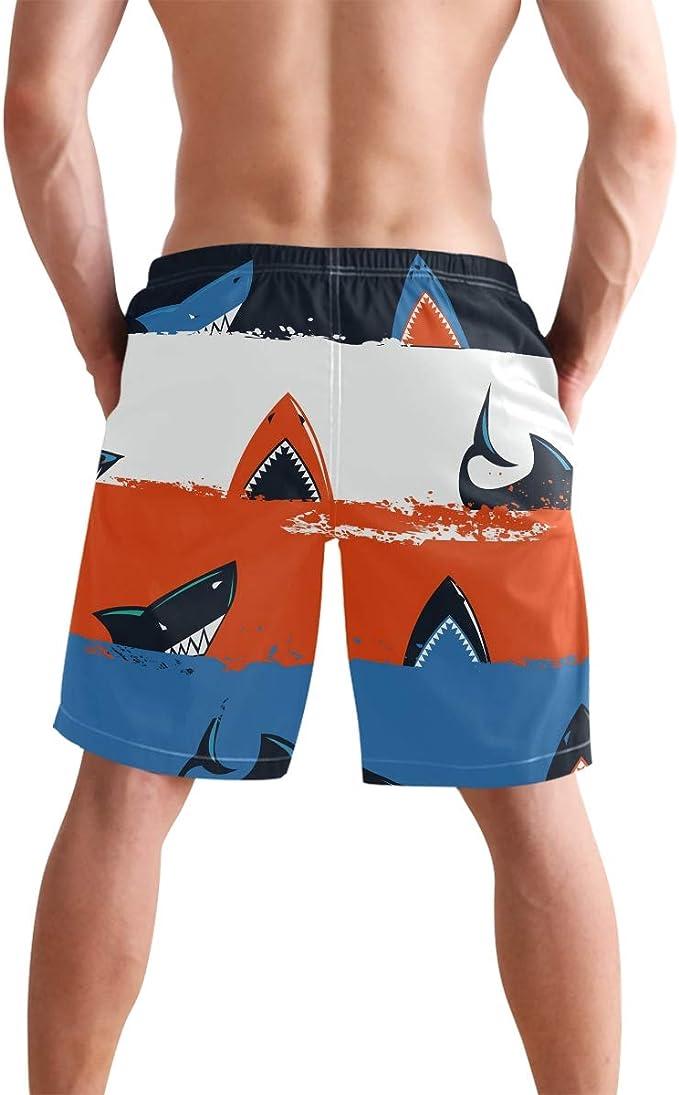 Boys Blue//Orange Surfing Sharks Swim Trunks Board Shorts