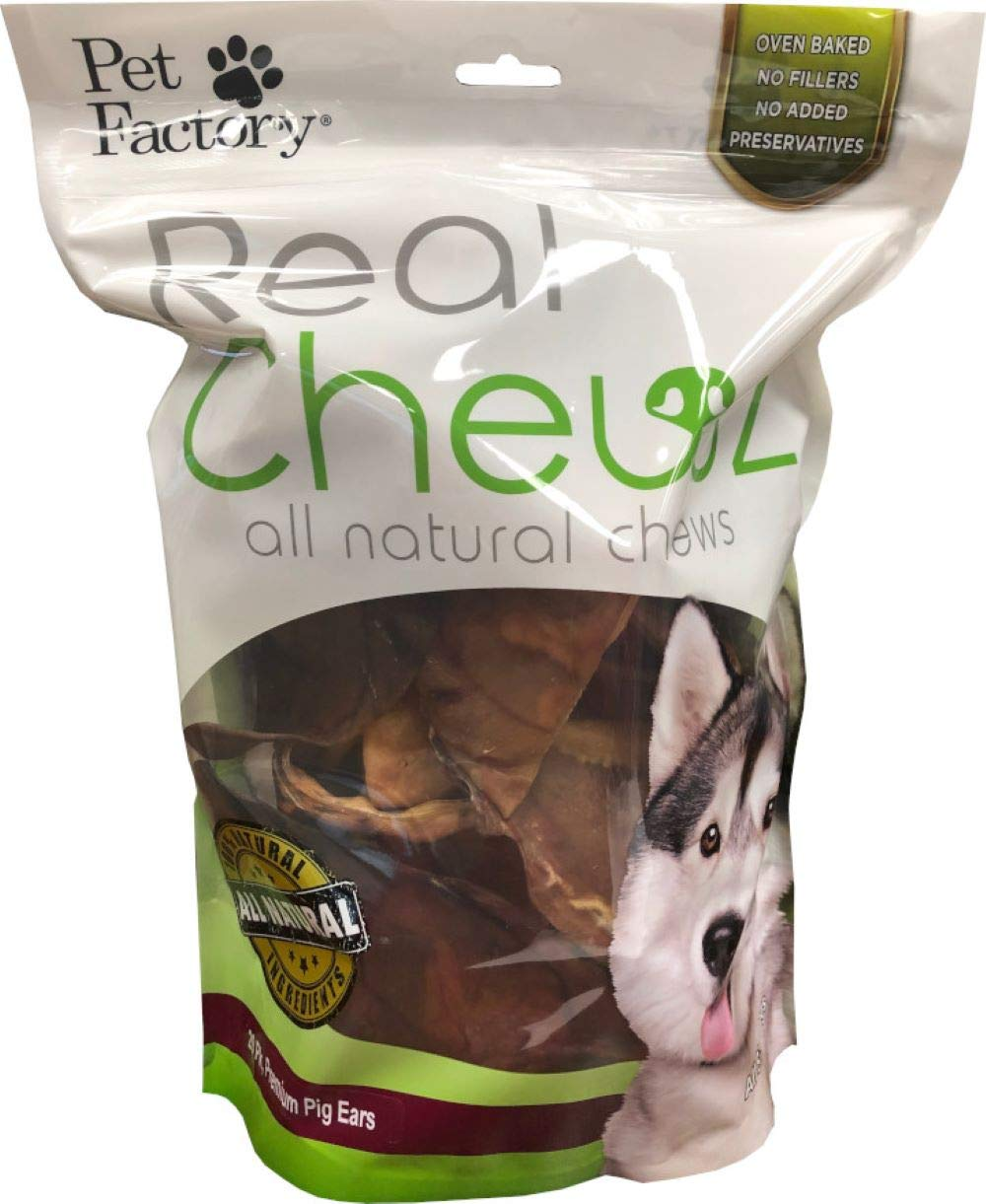 Pet Factory Real Chewz 18208 All-Natural, Premium Pig Ear Dog Chews (20 Pack) - Grain-Free, No Added Preservatives, Single-Ingredient Dog Treats, No Fillers, Oven Baked.
