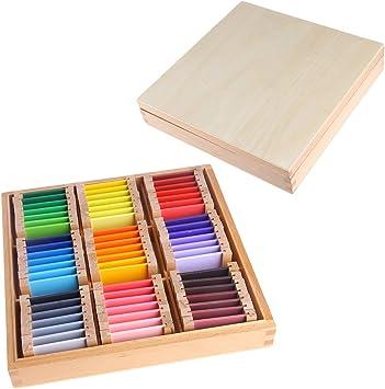 MiSha Tabletas de Color Caja Grande, Material Montessori de Madera Juguete de Aprendizaje sensorial de Arte: Amazon.es: Juguetes y juegos