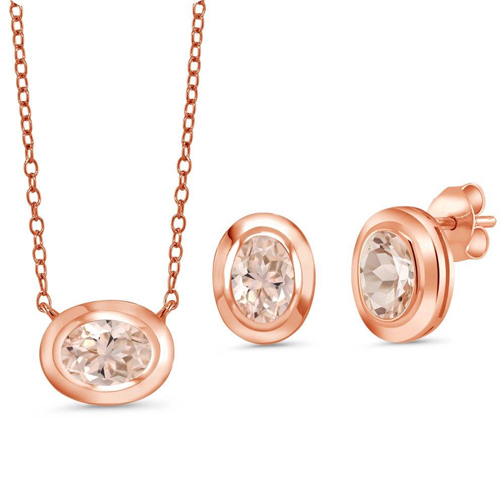 1.95 Ct Peach Morganite 18K Rose Gold Plated Silver Pendant Earrings Set