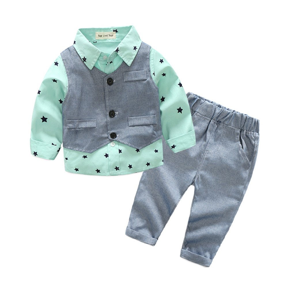 Top and Top Baby Boy Clothes Toddler Outfit 3PCS Children Clothing Set with Vest + Pants (70/0-6 Months, Green)