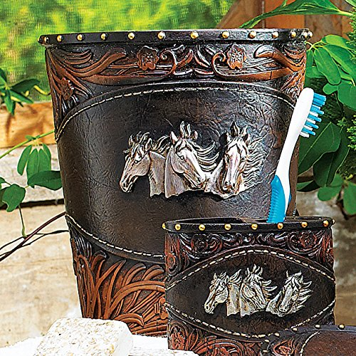 Black Forest Decor Horse Tooled Leather Waste Basket - Forest Black Leather