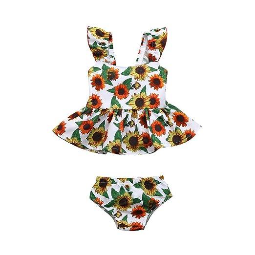 92ff9fe5e Kehen Sunflower Print Sleevelss Backless Summer Dress + Bottom Shorts 2pcs Infant  Newborn Baby Girl Clothes