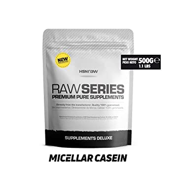 Caseína Micelar de HSN Raw   Proteína de Lenta Digestión   Sin Edulcorantes Sin Endulzantes - En Polvo – Apto Vegetariano, Sin Gluten, Sin Sabor – 500 ...