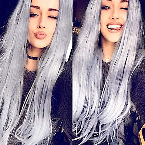 (AnotherMe Long Straight Ash Grey Hair Wig 27.5 Inches Silver White Women Ladies Ultra Soft Heat Resistant Synthetic Fiber Wig Party Cosplay)