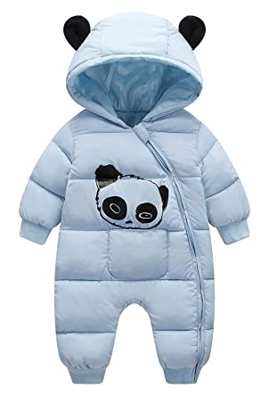 4bb119d4cc73 Amazon.com  Baby Boys Girls Animal Hoodie Jumpsuit Snowsuit Winte ...