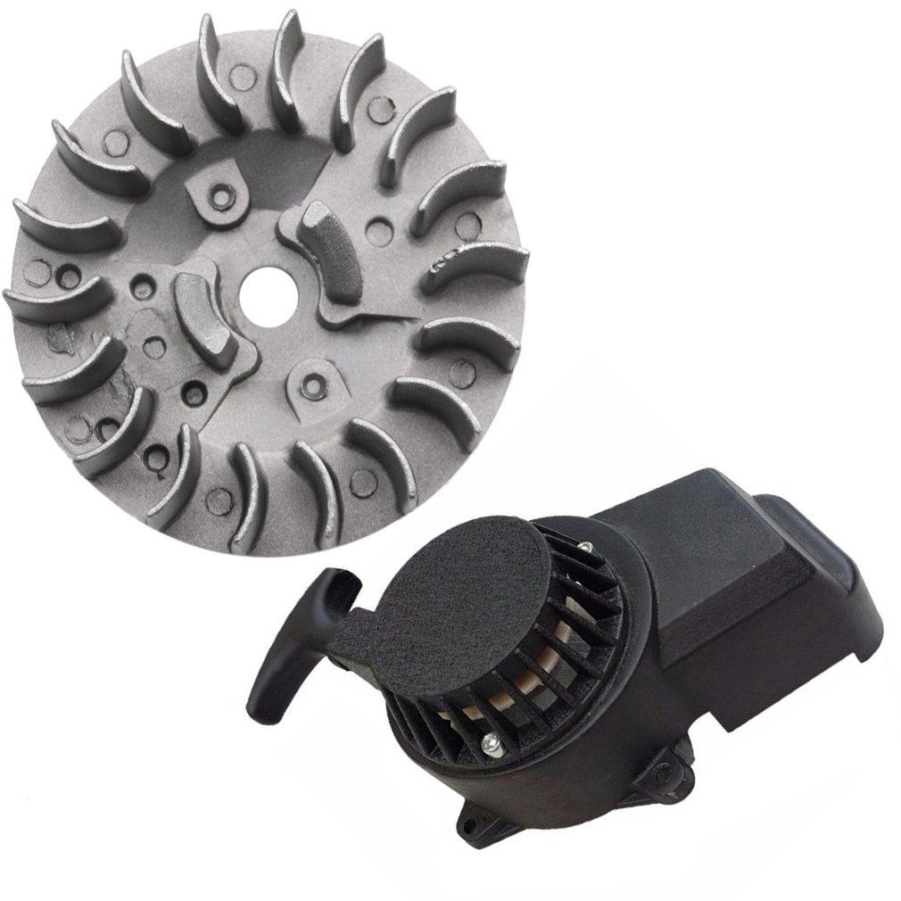 ZXTDR Flywheel and Pull Start Recoil Starter for Mini Pocket Bike ATV Quad (Black)