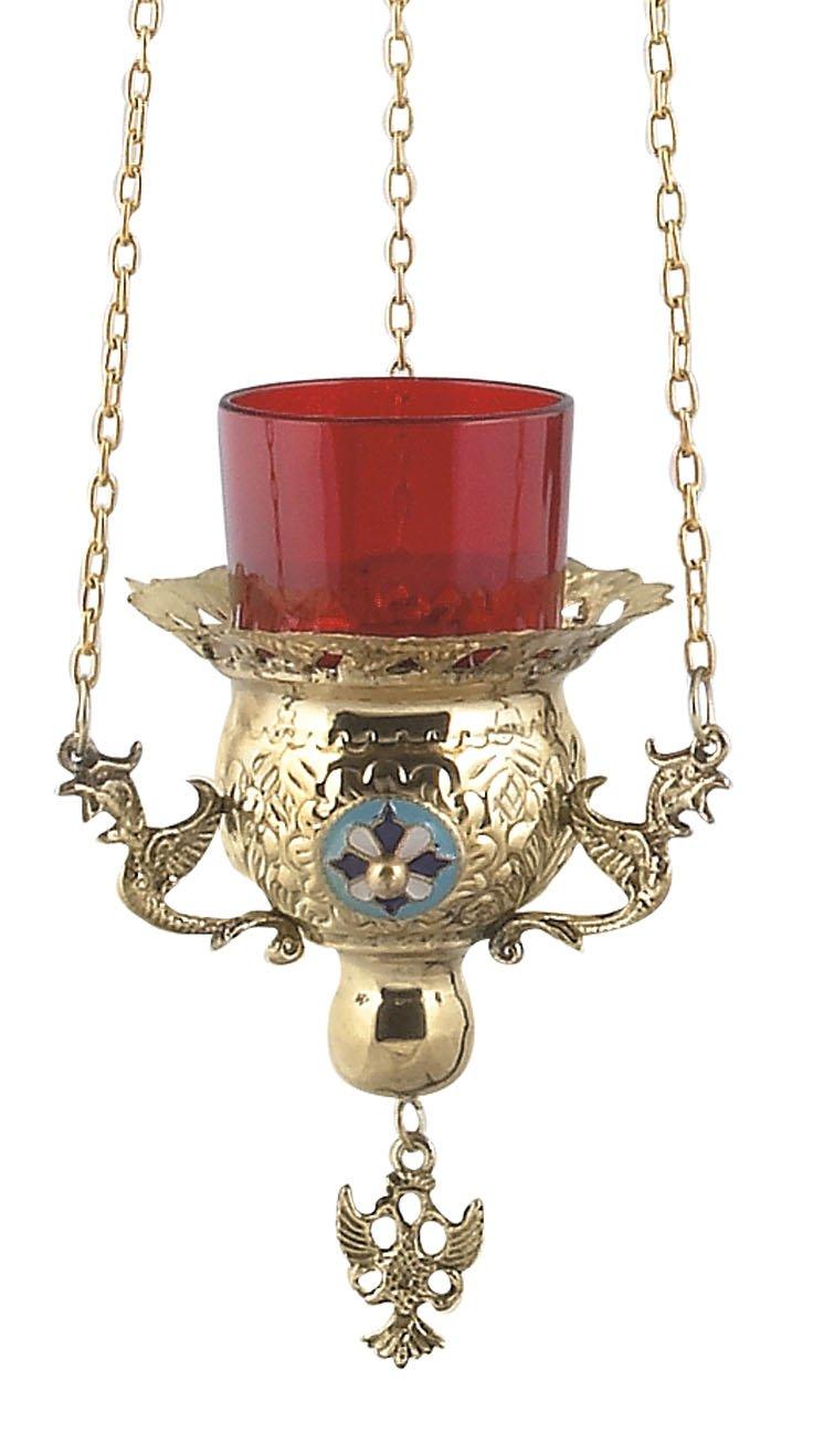 Hanging Brass Greek Christian Orthodox Vigil Lamp (9771 B)