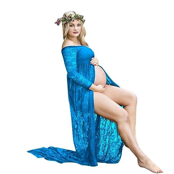 BBsmile Ropa para Mujeres Embarazadas Mujeres Embarazadas Sexy Fotografía Accesorios Fuera de los Hombros Vestido de