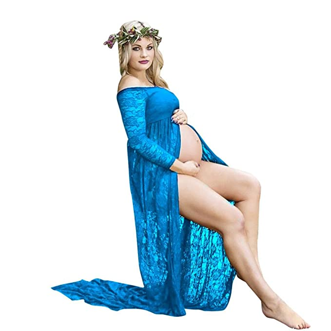 Amazon.com: Maternity Off Shoulder Lace Gown Split Front Maxi Dress Photoshoot Baby Shower: Clothing