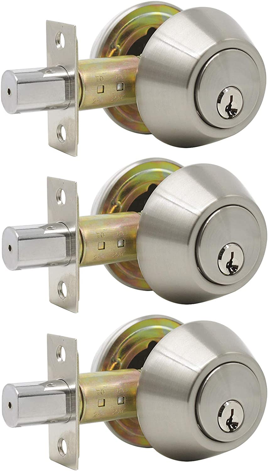 Gobrico 3 Keyed Alike Satin Nickel Keyed Single Deadbolts Door Locks with Same Key,Thumb-Turn Button Inside