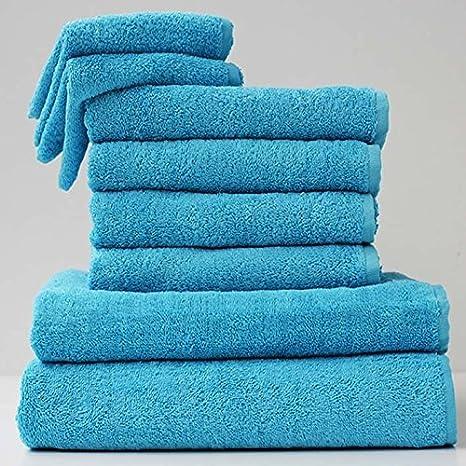 Carpemodo 4 Piezas baño 2 Toallas de Mano + 2 x Toalla de Ducha Color Turquesa: Amazon.es: Hogar