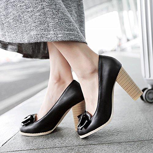 Carolbar Femmes Arcs Mariée Mariage Chic Élégance Douce Chunky Haut Talon Robe Pompes Chaussures Noir
