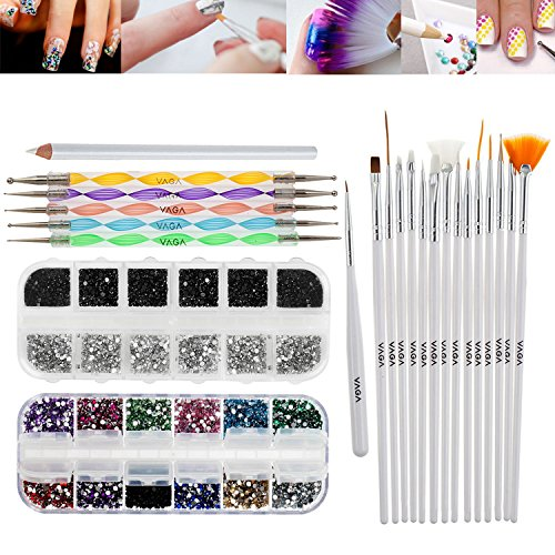 Professional Premium Nail Art Decorations Tools Set Kit With White Wax Rhinestones Picker Pencil / Pen, Black And Silver Gemstones, Mixed Colors Jewels In Box, 15 White Brushes / Stripers / Liners And 5 Double Ended Dotting Marbling Utensils By VAGA