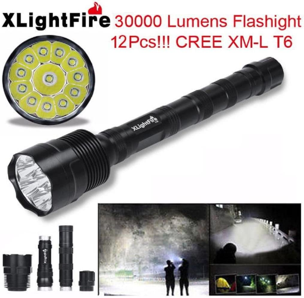45000LM 12x XM-L T6 LED Flashlight Torch 4x Light Hunting Light Lamp Fishing UK