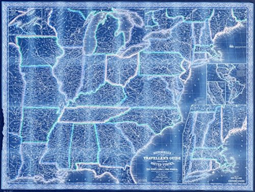 Vintography 18 x 24 Blueprint Style Reproduced Old Map 1853Mitchell's New traveller's Guide Through The United States, Showing The Rail Roads, canals, Stage Roads &c Distances from Place to Place D ()