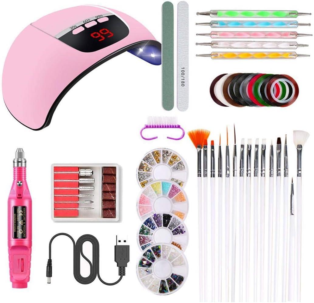 Biuday - Estuche de manicura con luz UV para lámpara de polimerización con lámpara de polimerización de gel de 45 W, accesorios de maquillaje y herramientas: Amazon.es: Belleza