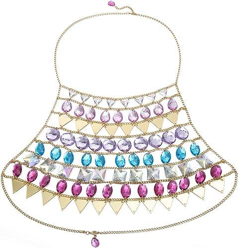 Fashion Women Multicolored Gem Bead Crop Top Bra Chain Necklace Beach Jewelry