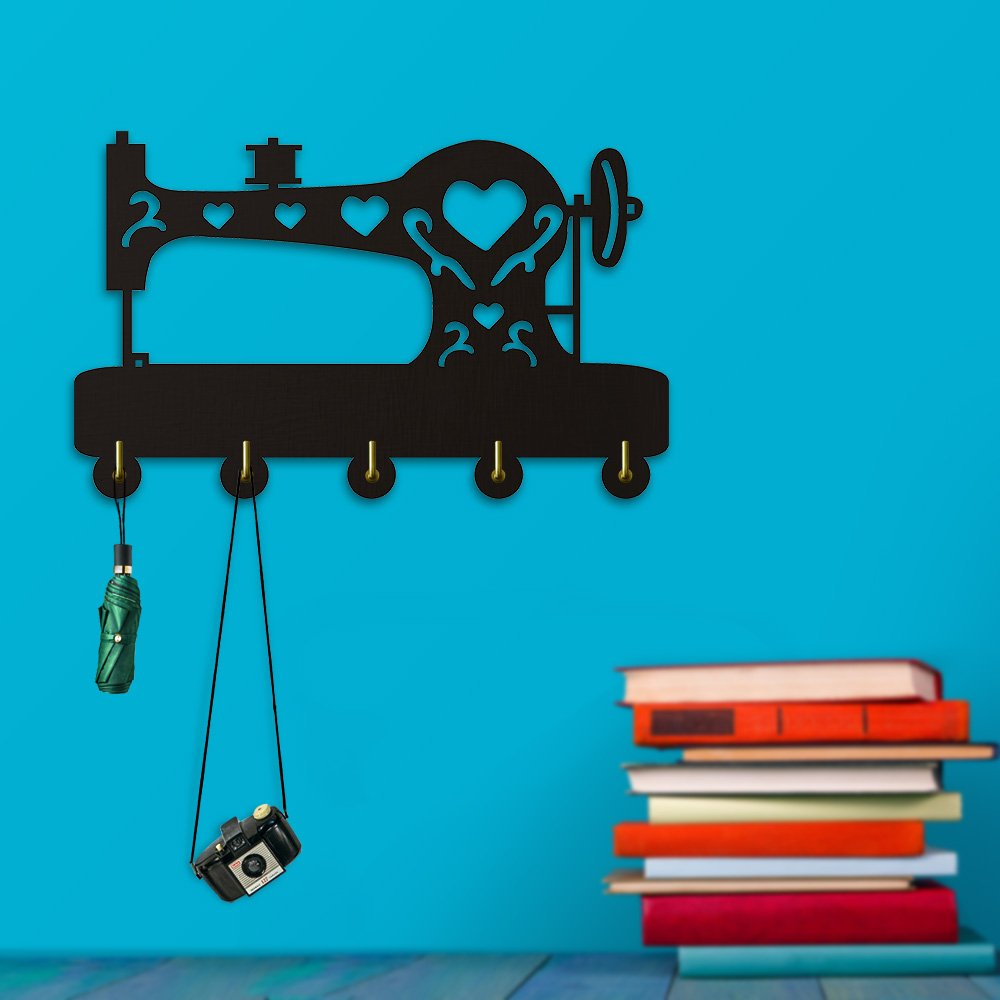 Mini Sewing Machine Shape Design Creative Home Decor Wall Art Clothes Coat Robe Hooks Bedroom Bathroom Door Towel Hooks Decor For Sewing Lover Gift