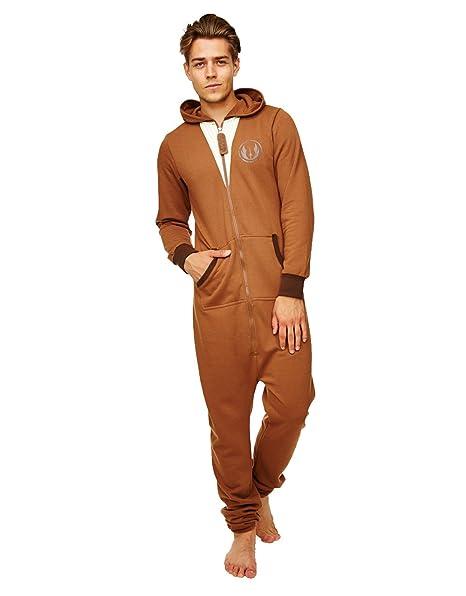 Star Wars pijama, para hombre Jedi incluye el mono con capucha marrón