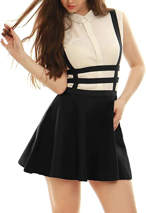 lumanuby para mujer tirantes falda cintura elástica corto Mini ...