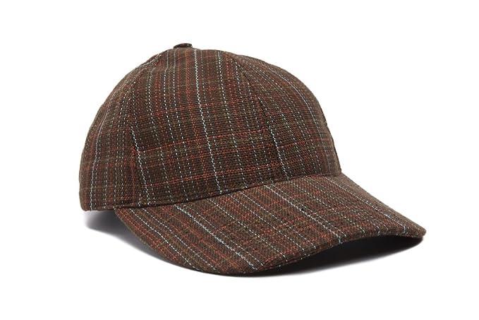 2e16305a096 USA Made Mens Tweed Plaid Autumn Baseball Cap - Brown at Amazon Men s  Clothing store