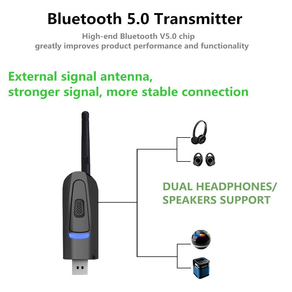 Adattatore Wireless USB 3,5 mm per PC TV multipunto Adattatore Audio Senza Fili trasmettitore e Ricevitore Audio V5.0 con aptX Bassa latenza Adattatore Bluetooth 2 in 1 Showyun