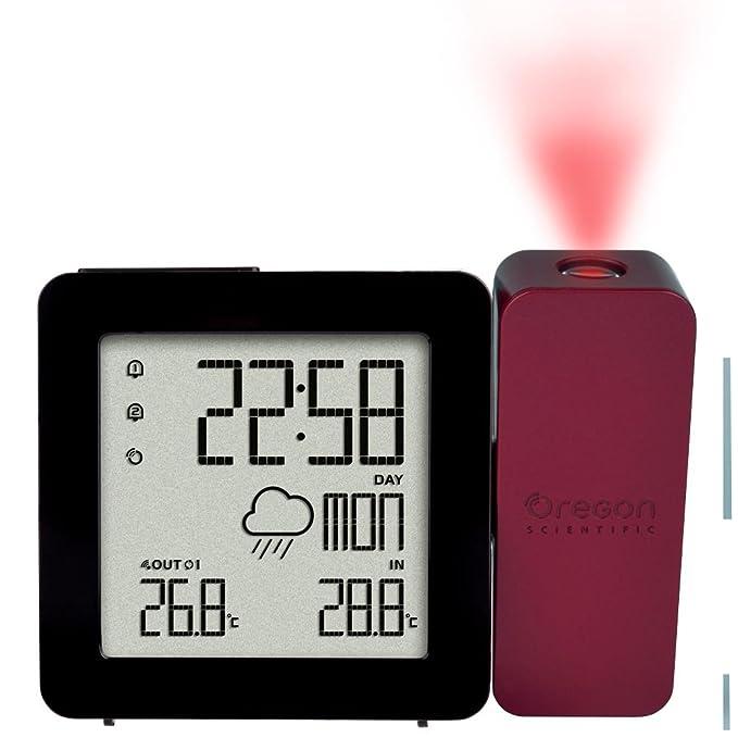 Oregon Scientific BAR368P - Reloj despertador con proyección de hora y temperatura, color negro y rojo: Amazon.es: Relojes