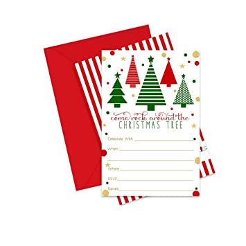 Christmas Invitations.Amazon Com Rock Around Holiday Party Invitations Pack Of