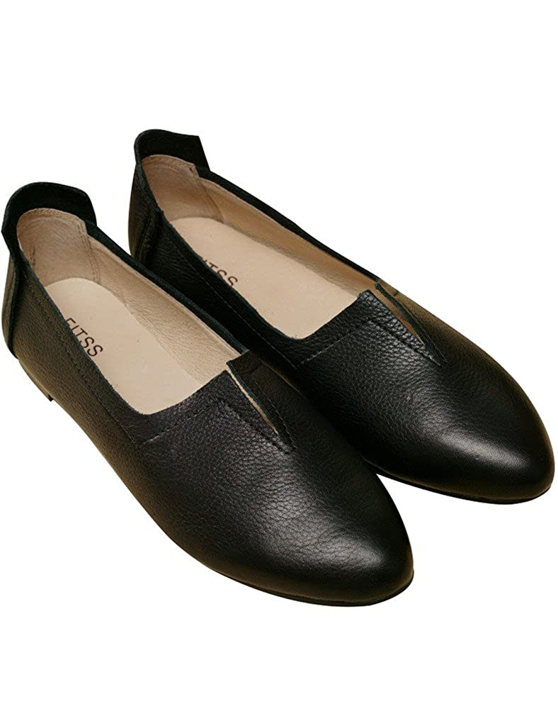 Youlee Damen Höcker handgefertigt Schuhe Leder handgefertigt Höcker Flache Schuhe fb3be5