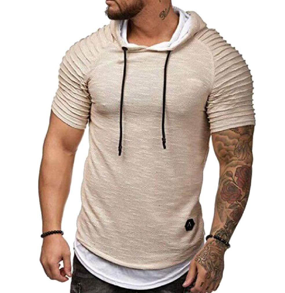Whitive Men Fit Casual Loose Hood Short-Sleeve Athletic Pullover Shirt Top