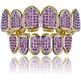 Saint Design 5X Layered 14k Real Gold Plated Filled Rose red Micro Paved Zircon Fang CZ 6 Teeth Grillz Top and Bottom Set Bli