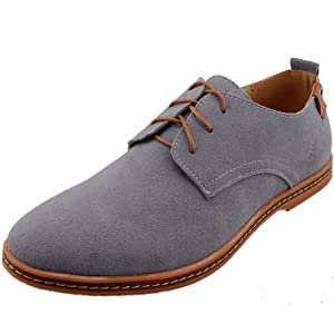Dadawen Men's Grey Leather Oxford Shoe - 10 D(M) US