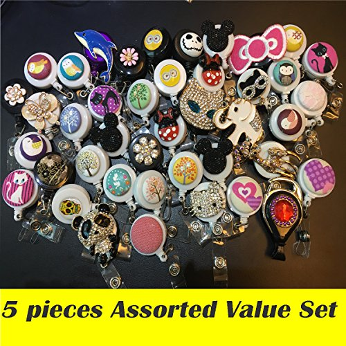 Assorted 5pcs Set of Decorated Retractable Badge Reel Holder for Office Identity Card - Bling Rhinestone Fabric - Cartoon Pattern Animal ( Cat / Elephant/ Flower / Owl / Skull ) -