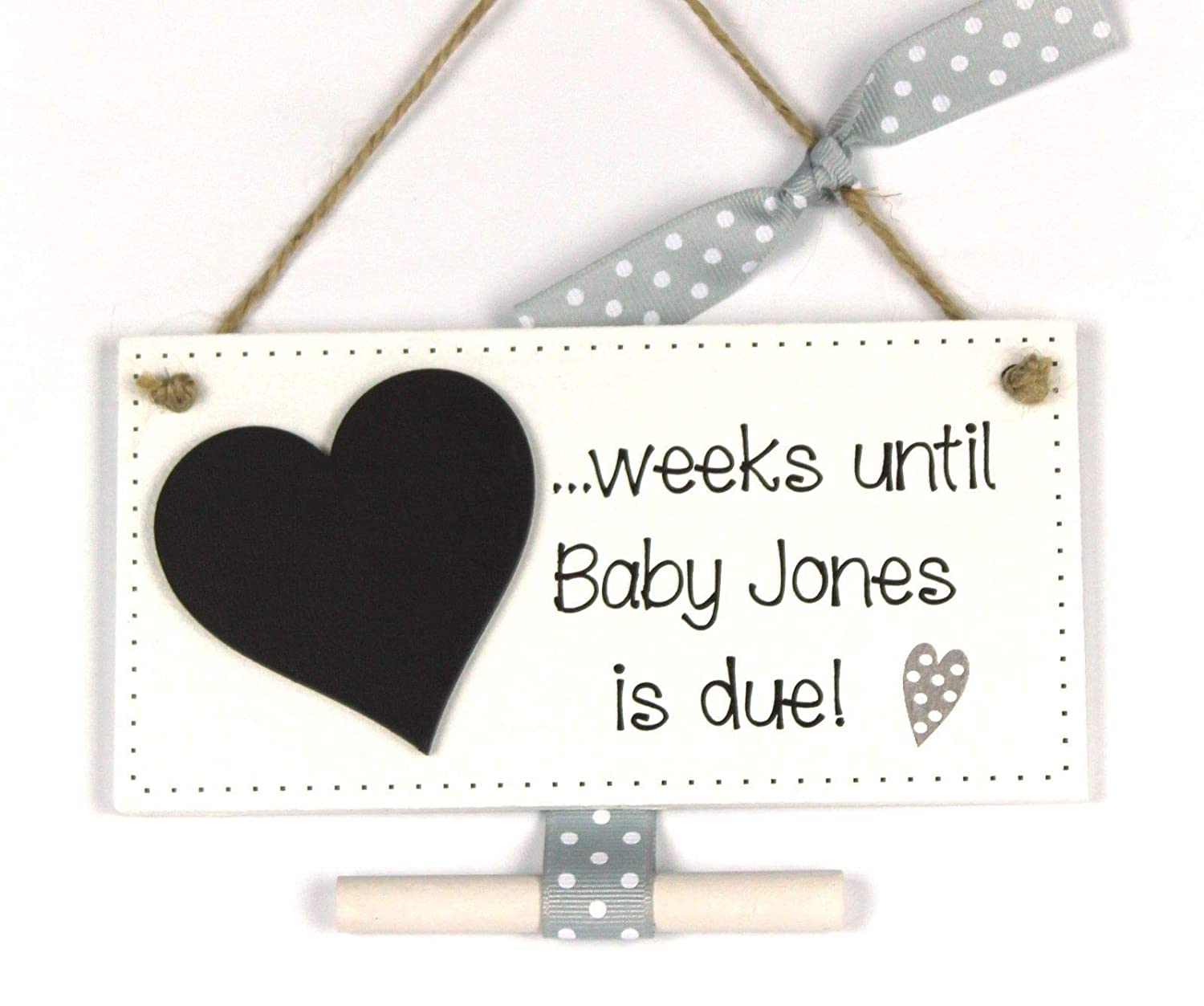 Personalised countdown to new baby pregnancy plaque sign baby shower gift