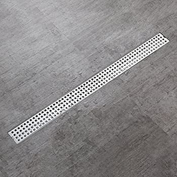 Desfau Square Grate Linear Shower Drain With Removable Quadrato Pattern  Grate,32 Inch Stainless Steel Linear Drain,Modern Floor Shower Drain With  Hair ...