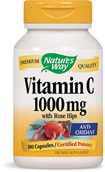 Nature S Way Vitamin C 1000 Mg With Rose Hips 1000 Mg Per Serving 100 Capsules