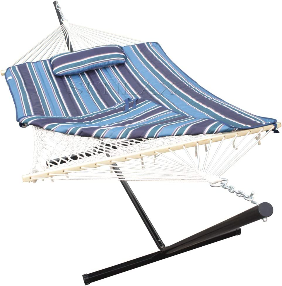 SUNLAX Double Hammock with 12FT Portable Steel Stand and Spreader Bar, Pad, Detachable Pillow, Indoor or Outdoor Use, Horizon Blue